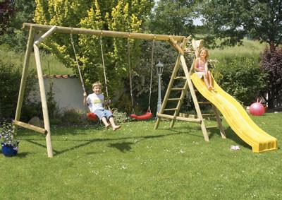 Spielanlage / Doppel Holzschaukel Tim+Hanna Rundholz kdi 400x305x210cm