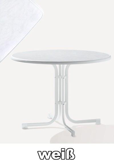 SIEGER Gartentisch klappbar rund Ø 100 cm weiß Stahl