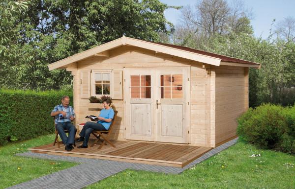 Weka Blockbohlenhaus 45 mm Gartenhaus 136 Gr. 1 VD natur 460x370cm