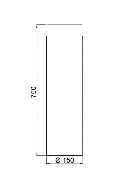 Ofenrohr / Rauchrohr Senotherm schwarz Ø150 mm Länge 750 mm