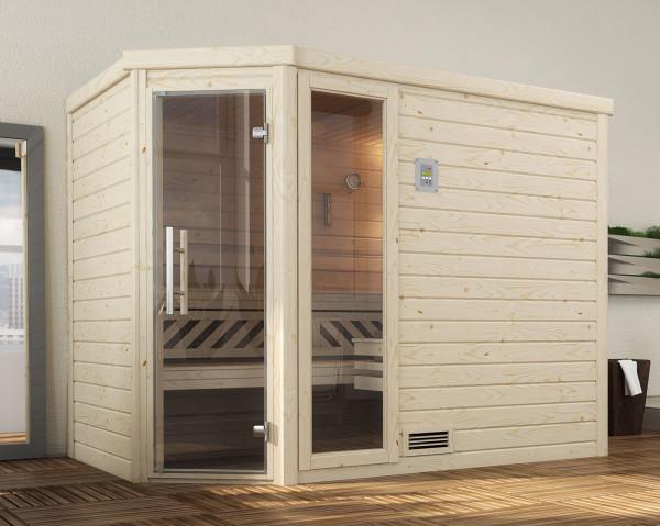 Weka Sauna Turku 3 45mm ohne Saunaofen mit Glastür und Fenster