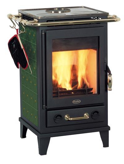 Kaminofen Fireplace Florenz Keramik Grün mit Kochplatte 7kW