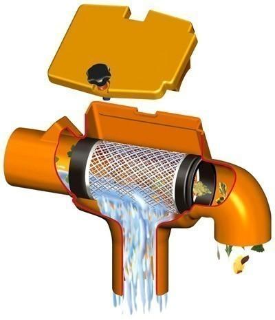 Regenwasserfilter Supra Intern mit gebogenem Abgang GARANTIA 202557