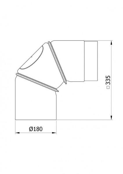 Ofenrohr Bogenknie 3tlg verstellbar 0-90° Ø180mm Senoth. schw. m.T.