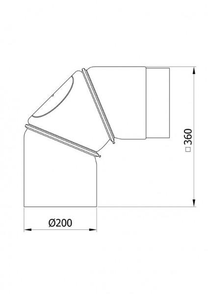 Ofenrohr Bogenknie verstellbar 0-90° Ø200mm Stahl blank mit Tür