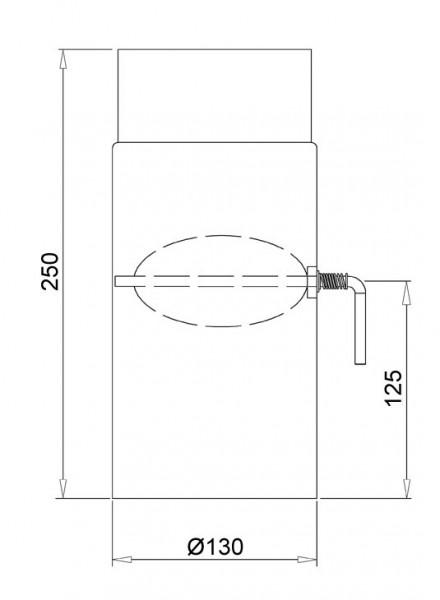 Ofenrohr mit Drosselklappe Senotherm schwarz Ø 130 mm Länge 250 mm