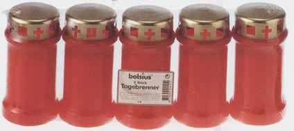 Bolsius Grablicht / Dauerbrenner Nr. 3 rot mit Deckel 5 Stück