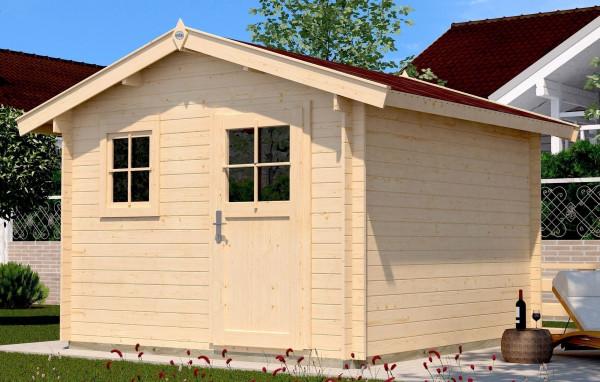 Weka Blockbohlenhaus 28 mm Gartenhaus Premium28FT VD60cm 380x320cm