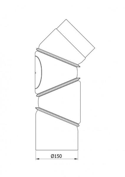 Ofenrohr Bogenknie 4tlg verstellbar 0-90° Ø150mm Senoth. schwarz m.T.