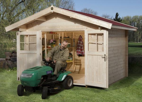 Weka Gartenhaus Premium28DT mit Vordach Gr. 3 natur 380x320cm