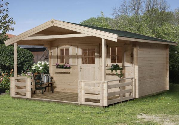 Weka Gartenhaus 28 mm 110 B Gr. 1 natur 460x510cm Vordach+Terrasse
