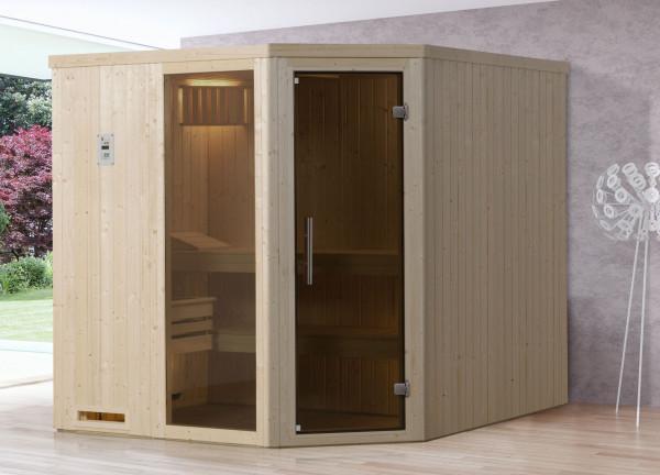 Weka Sauna Varberg 3 68mm ohne Saunaofen mit Glastür und Fenster