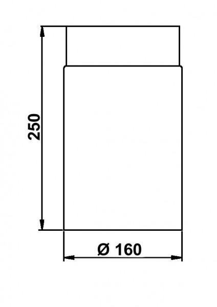 Ofenrohr / Rauchrohr Senotherm schwarz Ø160mm Länge 250 mm