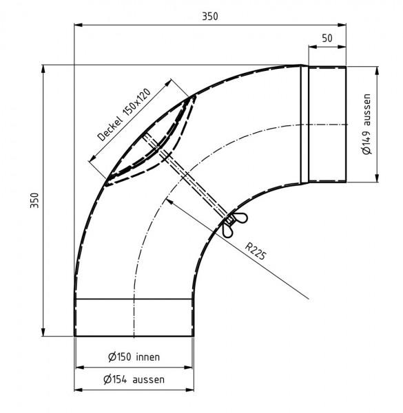 Ofenrohr / Rauchrohr Bogenknie gezogen 90° Ø150mm Senoth. schwarz m.T.