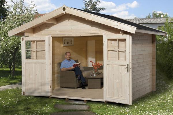 Weka Gartenhaus Premium28DT mit Vordach Gr. 4 natur 380x370cm