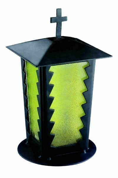 Grablaterne / Grablampe Stahl 24 cm Echtglaseinsatz
