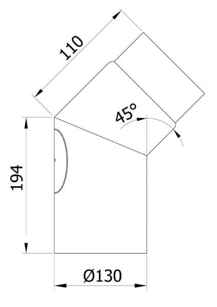 Ofenrohr / Rauchrohr Bogenknie 45° Ø130mm Senotherm schwarz mit Tür