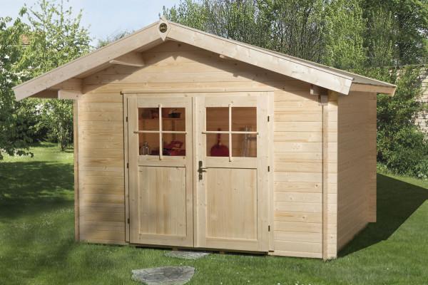 Weka Gartenhaus Premium28DT mit Vordach Gr.1 natur 380x270cm