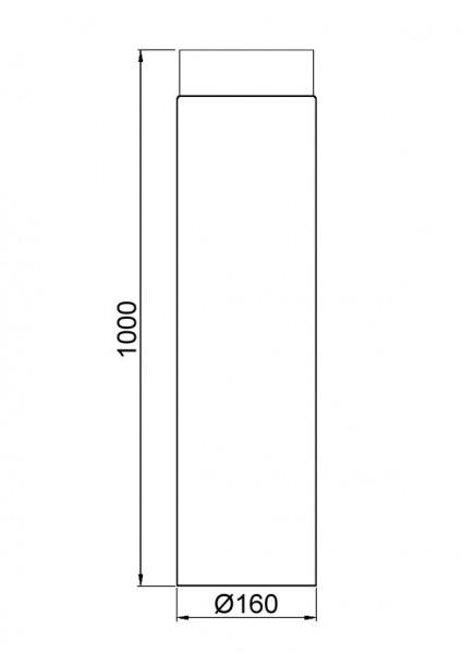 Ofenrohr / Rauchrohr Senotherm schwarz Ø160mm Länge 1000 mm