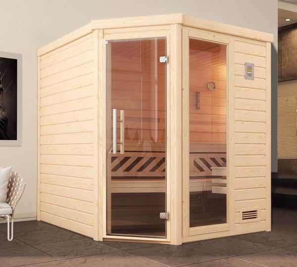 Weka Sauna Turku 2 GTF 45mm ohne Ofen Glastür mit Fenster