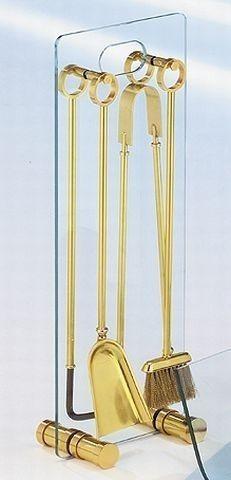 Kaminbesteck / Kamingarnitur Lienbacher Messing Glas 4teilig