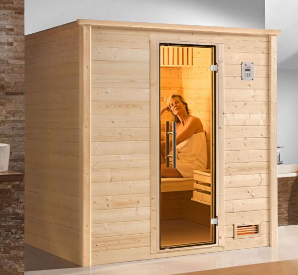 Weka Sauna Bergen 1 45mm ohne Ofen mit Glastür