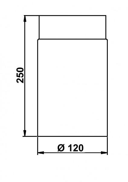 Ofenrohr / Rauchrohr Senotherm schwarz Ø120 mm Länge 250 mm