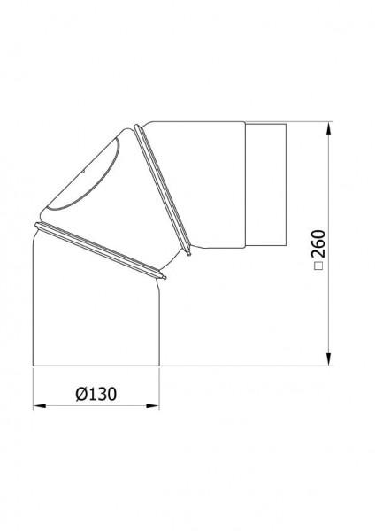 Ofenrohr Bogenknie 3tlg verstellbar 0-90° Ø130mm Senoth. schwarz m.T.