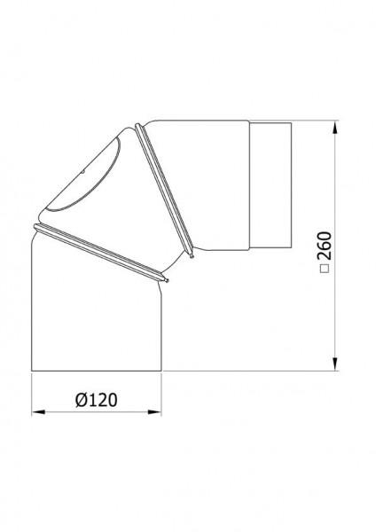 Ofenrohr Bogenknie 3tlg verstellbar 0-90° Ø120mm Senoth. schwarz m.T.