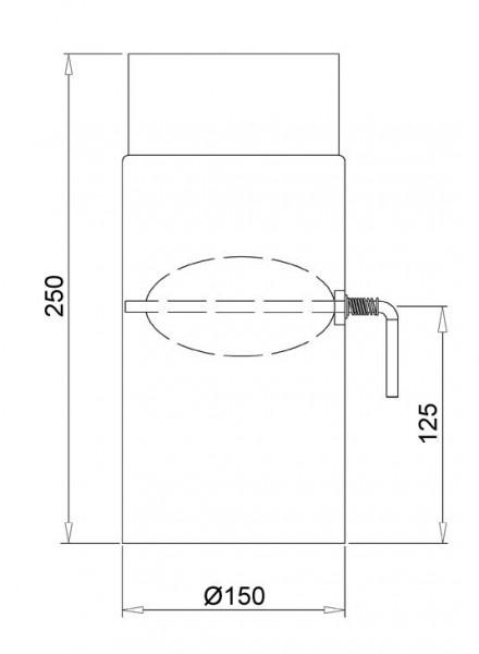 Ofenrohr Senotherm schwarz mit Drosselklappe Ø 150 mm Länge 250 mm