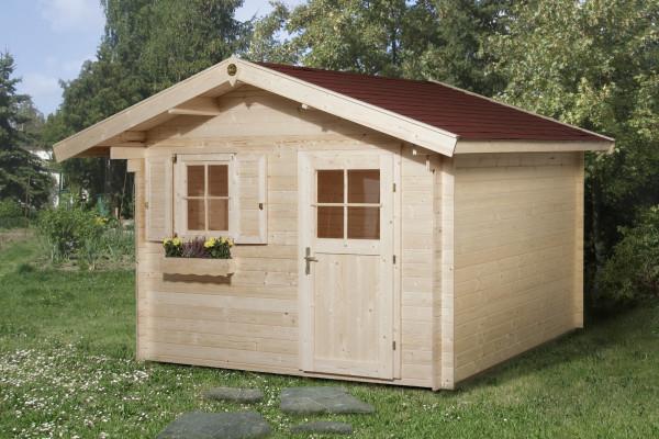 Weka Blockbohlenhaus 28 mm Gartenhaus Premium28FT natur 380x330cm