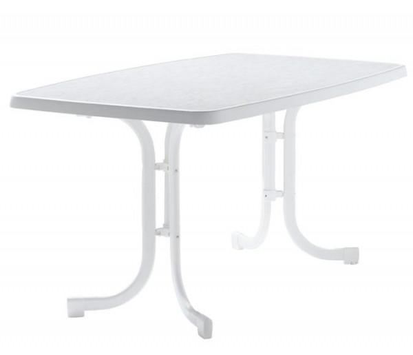 SIEGER Gartentisch klappbar 150 x 90 cm weiß Stahl