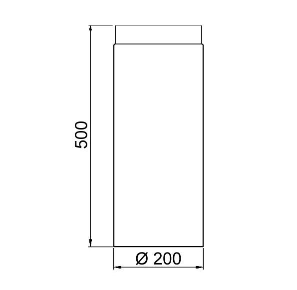 Ofenrohr / Rauchrohr Stahl blank Ø200mm Länge 500 mm