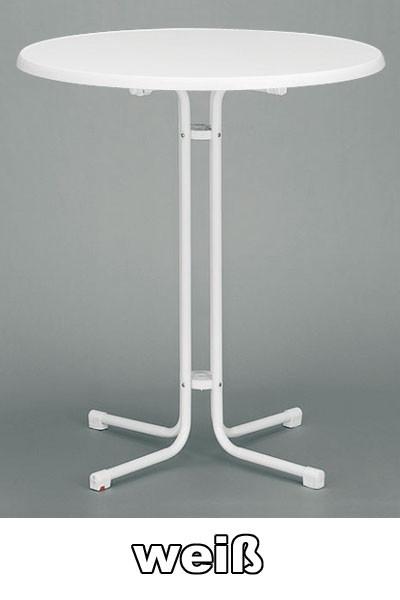 Kurz Stehtisch klappbar Ø 85 cm weiß Stahl