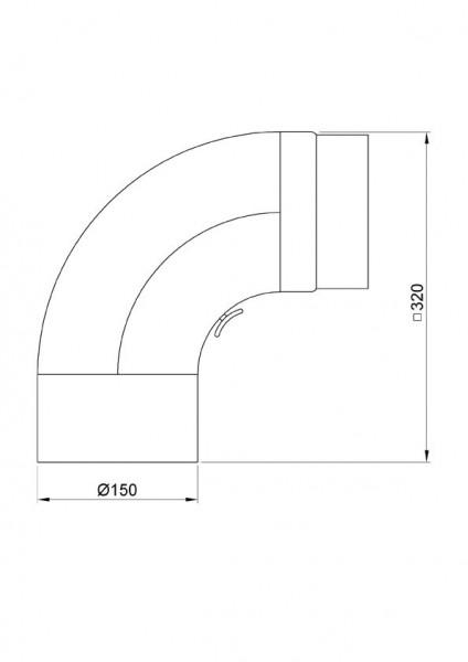 Ofenrohr / Rauchrohr Bogenknie gezogen 90° Ø150mm Senoth. grau mit Tür
