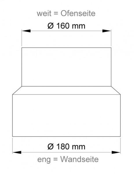Ofenrohr Reduzierung 160weit auf 180eng schwarz