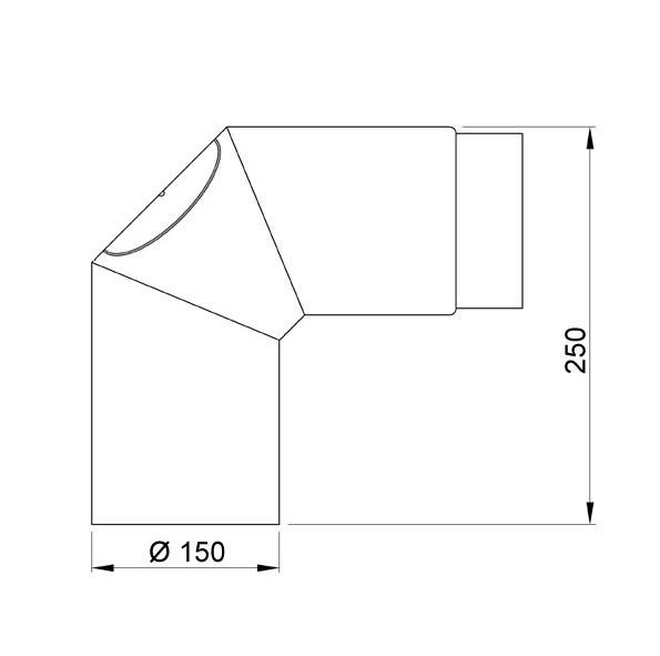 Ofenrohr / Rauchrohr Bogenknie 90° Ø150mm Senotherm gussgrau mit Tür