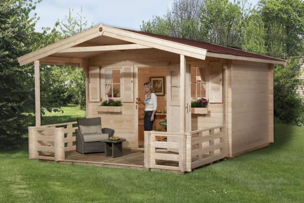 Weka Blockbohlenhaus 45mm Gartenhaus 135B Gr.2 460x590cm VD+Terrasse