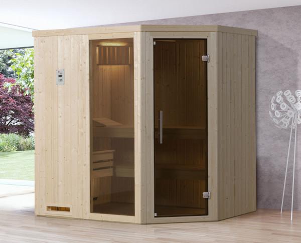 Weka Sauna Varberg 1 68mm ohne Saunaofen mit Glastür und Fenster