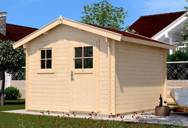Weka Blockbohlenhaus 28 mm Gartenhaus Premium28FT natur 300x330cm