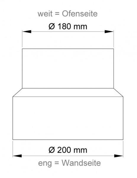Ofenrohr Reduzierung 180weit auf 200eng schwarz