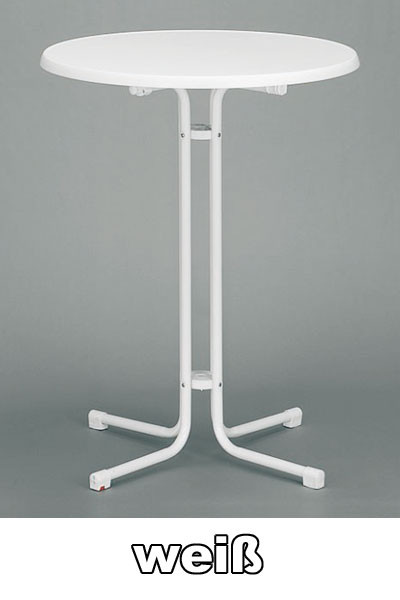 Kurz Stehtisch klappbar Ø 70 cm weiß marmoriert Stahl