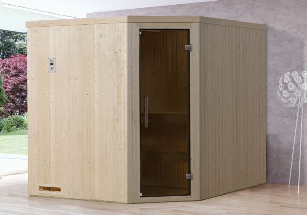 Weka Sauna Varberg 3 68mm ohne Saunaofen mit Glastür