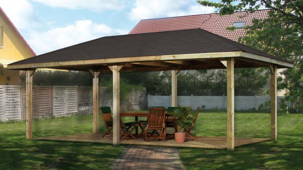 Weka Pavillon / Carport Gartenoase 651D Gr.2 kdi 678x380cm