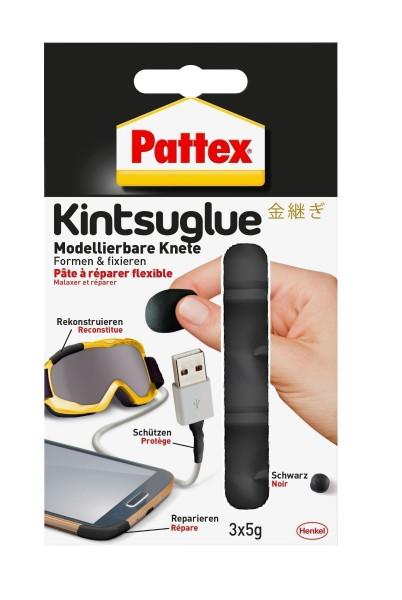 Pattex Kintsuglue flexible Knete schwarz 3 x 5g