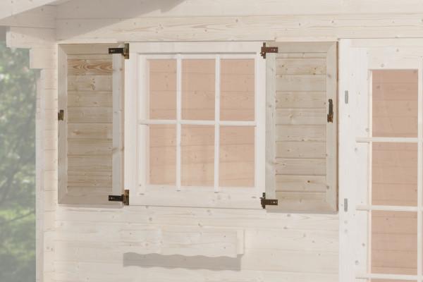 Fensterladen für Weka Gartenhaus 2-teilig zweiseitig 91x91cm