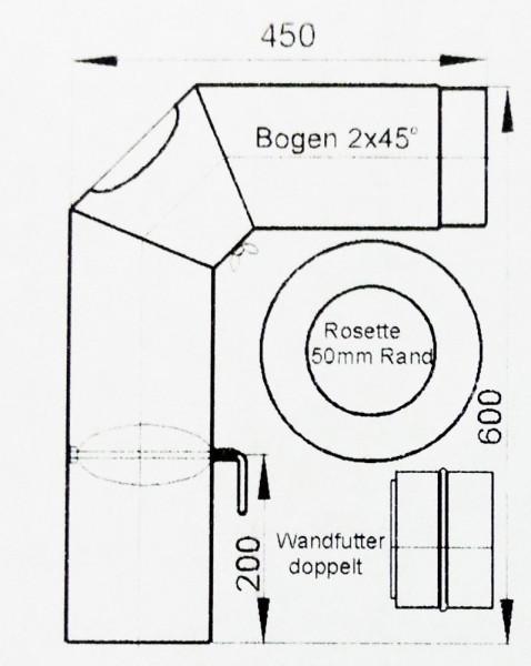 Ofenrohr / Rauchrohr Set2 Ø 150 mm schwarz geschweißt und verschliffen