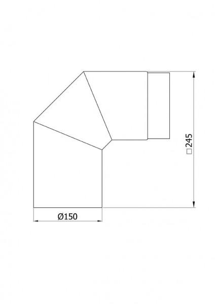 Ofenrohr / Rauchrohr Bogenknie 90° Ø150mm Senotherm schwarz ohne Tür