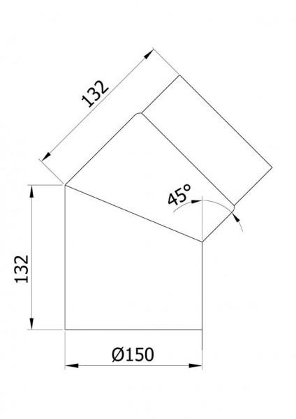 Ofenrohr / Rauchrohr Bogenknie 45° Ø150mm Senotherm schwarz ohne Tür