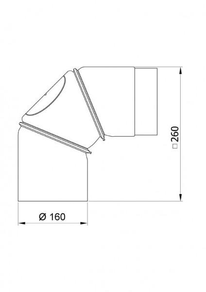 Ofenrohr Bogenknie 3tlg verstellbar 0-90° Ø160mm Senoth. schw. m.T.
